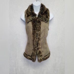 Gaby L Eden Women's Vest Faux Fur Brown Small